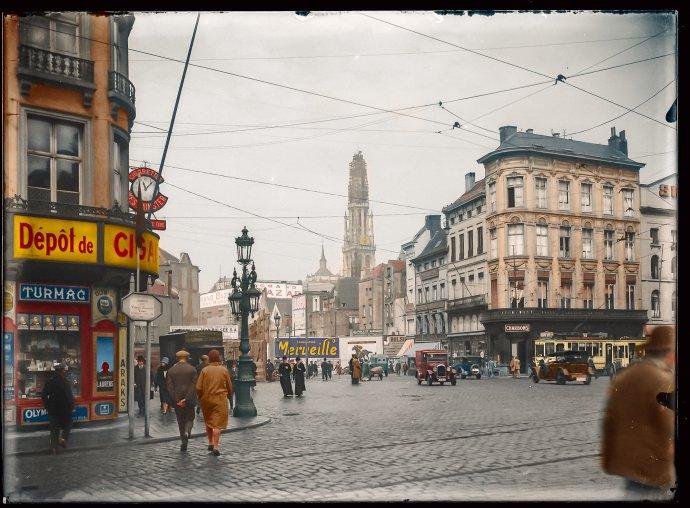 Meirbrug Antwerpen 1928 - ingekleurd door Perry Dolmans