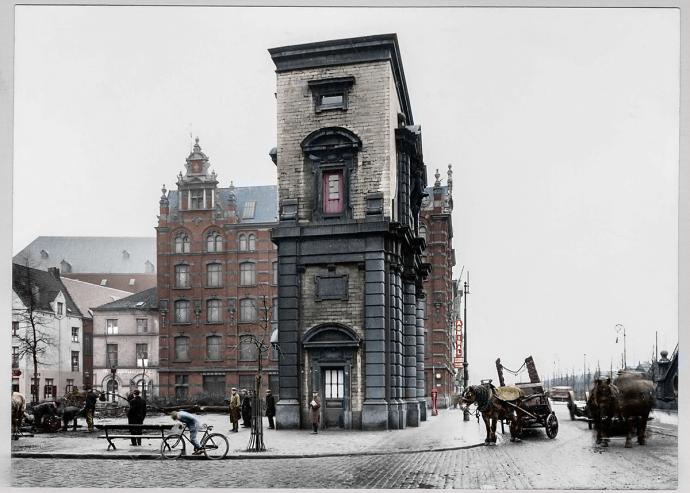 Antwerpen - Waterpoort op Sint-Jansvliet tussen 1900 en 1930