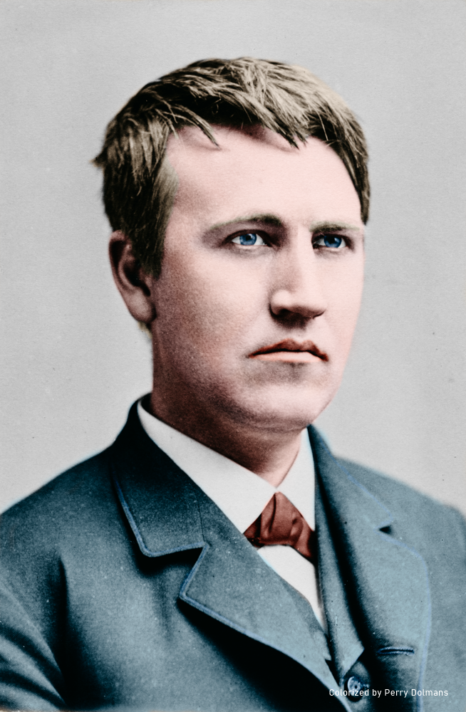 Thomas Alva Edison circa 1870 - Colorized portrait - Colorized by Perry Dolmans